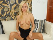 Claudia has sex on her couch