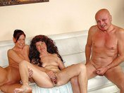 Grandpa and Granny in threesome with their pretty nanny