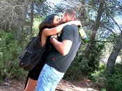 Threesome with a drunk slut in a Spanish wood