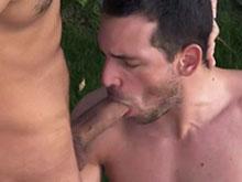 Beau gobeur de tige baisé par une grosse teub