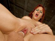 Sabrina, the redhead, gets banged in a basement