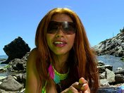 Manuella Pimenta gets banged hard on pebbles