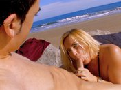 Didi the plump blonde gets buggered on the beach