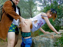 Zoe gets screwed in a forest by a big pervert
