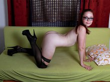 Ingrid strips off on her sofa bed