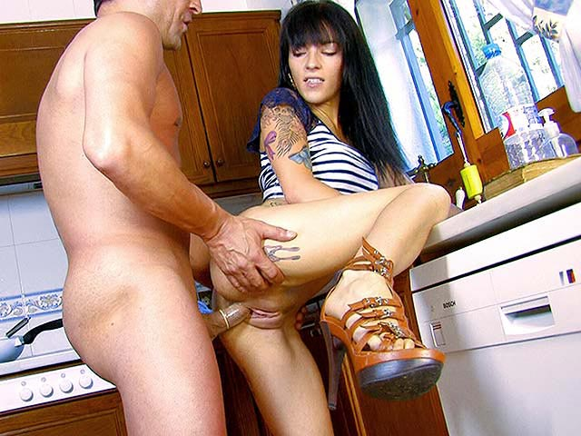 Beautiful housekeeper loves getting fucked in her kitchen