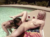 Two babes get wild by the swimming pool! porn video