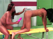 Two blacks fuck with a double dong! porn videos