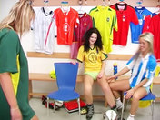 Lesbo supporters in heat! Sex in the changing rooms! porn video