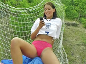 Slutty keeper showing off on the football field! porn videos
