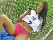 Slutty keeper showing off on the football field! xxx videos