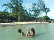 3 beautiful castaways on a desert island.  sex video