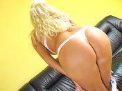 Blonde beauty in basque dildoing her anus!!! sex video