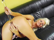 Blonde beauty in basque dildoing her anus!!! adult video