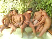 Drunken guys have an orgy by the swimming pool gay movie