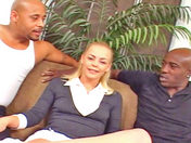 Two black guys have it away with Jessie J, a preppy blonde.   sex video