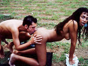 A tranny gets slowly bum-fucked during a barbecue porn video