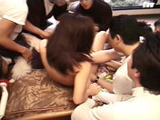 Youmi getting dildoed by 6 guys! porn videos
