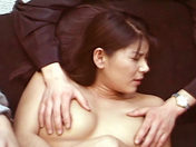 A beautiful Asian babe gets banged by some guys armed with dildos. adult video