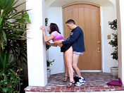 An amateur couple has sex in front of the house (exhibitionism!) porn videos