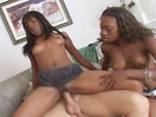 2 black hotties on top of a white guy! adult video
