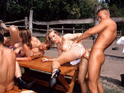 College girls gang-banged at the riding school! 3 girls + 3 guys xxx videos