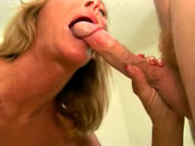 The mature slut licks her chops at wad adult video