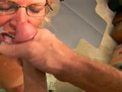 The mamma pulls her son's mate's wire and swallows his spunk!!! porn video