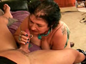 An old granny asks to get her mug and mouth cummed porn video