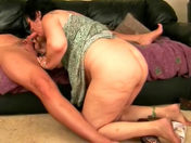 An old granny asks to get her mug and mouth cummed sex video