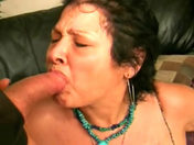 An old granny asks to get her mug and mouth cummed adult video