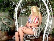A patriotic siliconed blonde dildoes herself in the garden! xxx videos