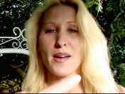 A patriotic siliconed blonde dildoes herself in the garden! adult video