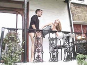 A redheaded amateur babe gets fucked on the balcony!   sex video