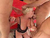 An incredibly slutty girl makes three juicy pricks come... porn video