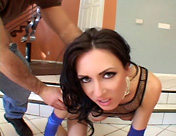 A brunette with an amazing arse gets her holes torn up! sex video