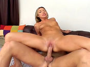 An Eurasian bombshell empties a huge-cocked guy's nuts! sex video