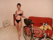 The slut plays with her bike porn video