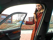 Hitchhiker in fur coat and greedy deep-throat xxx video