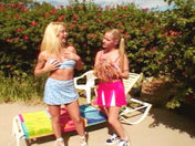 2 lesbian girls by the swimming pool! porn video