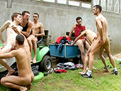 Gangbang on the lawn gay video