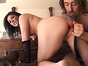 Taryn, sex in latex adult video