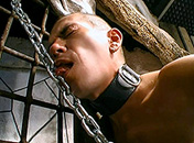 Hung on the cross, he sees his master torture him gay movie