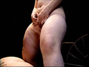 A dwarf woman shaves her pussy on the stage