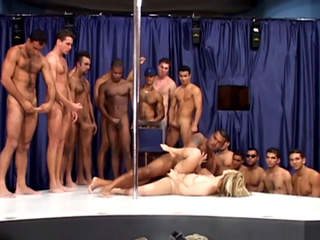 A beautiful blonde gets gang banged in Brazil