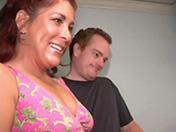 Mature brunette and cock gang-bang