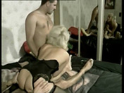 Threesome for a fat mature blonde
