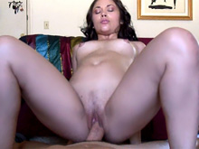 Curly Latina sucks cock and gets banged on the couch
